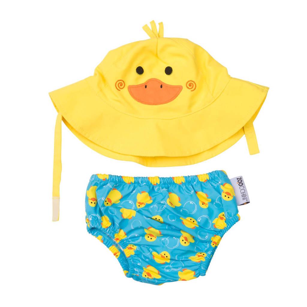 Zoocchini Puddles the duck zwemluier + zonnehoedje maat M, M: 6-12 maanden, Blauw, geel