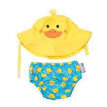 Puddles the duck zwemluier + zonnehoedje maat S