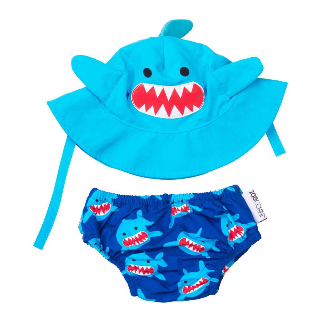 Zoocchini Sherman the shark zwemluier + zonnehoedje maat S, S: 3-6 maanden, Blauw