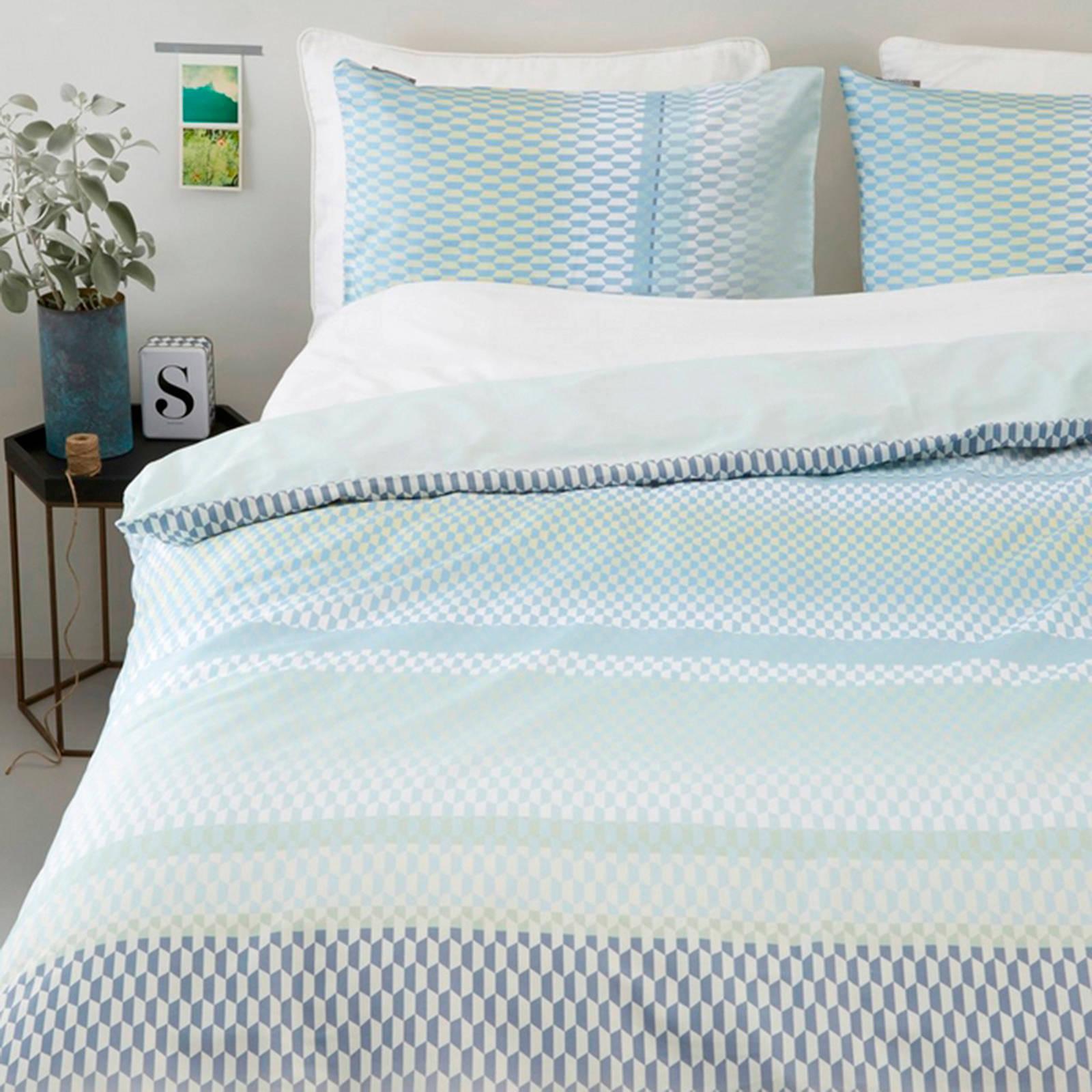 kardol katoensatijnen dekbedovertrek lits jumeaux blauw