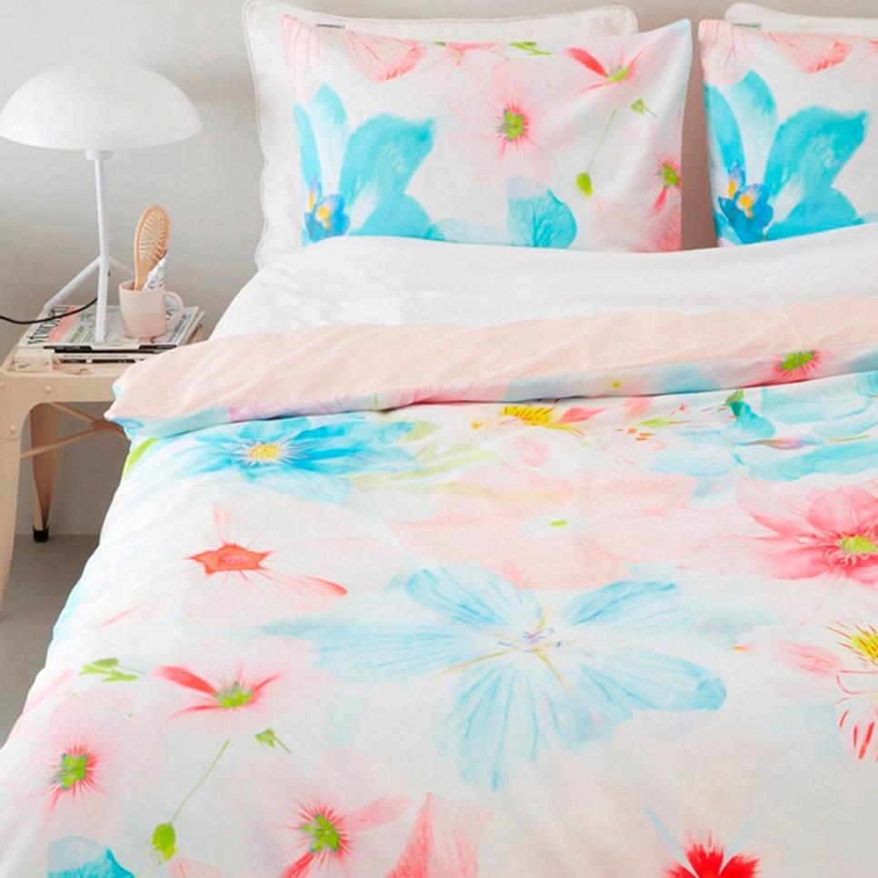 Beddinghouse katoensatijnen dekbedovertrek 2 pers., Roze/blauw/wit