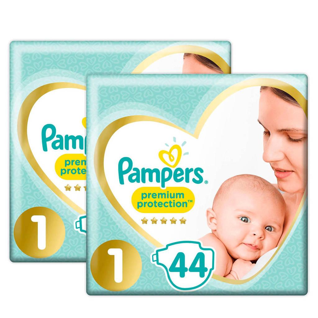 Pampers Premium Protection maat 1 (2-5 kg) 88 luiers, Maat 1+1