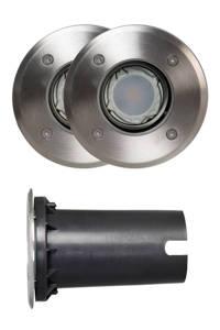 Luxform 12V grondspot York (set van 2), Zilver