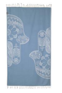 Seahorse hamamdoek (100x180 cm) Lichtblauw/wit