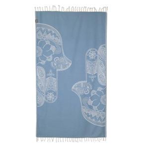 hamamdoek (100x180 cm) Lichtblauw/wit
