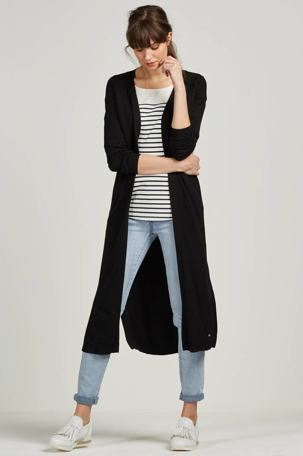 Miss Etam Regulier straight fit vest, Zwart