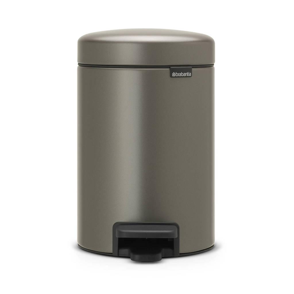 Brabantia newIcon wandafvalemmer (3 liter), Platinum