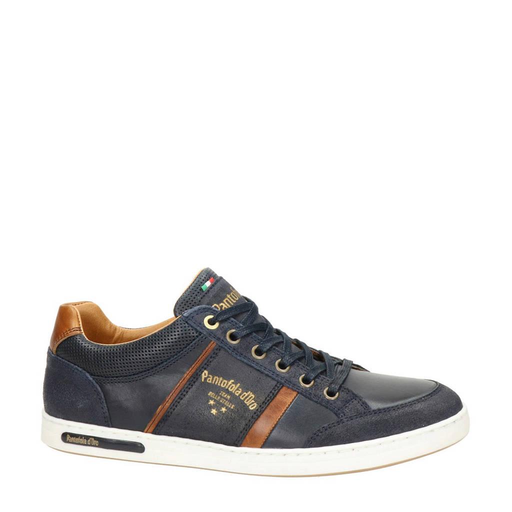 Pantofola d'Oro  leren sneakers, Donkerblauw/Cognac