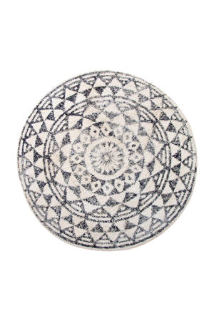 badmat (Ø120 cm) Zwart/wit