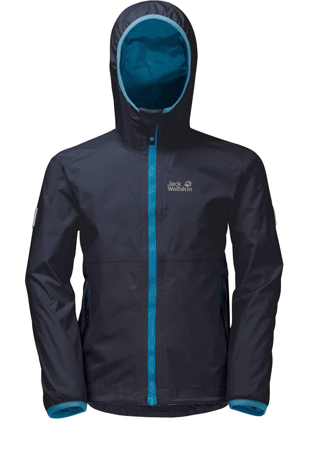 Jack Wolfskin kids regen jas, Donkerblauw