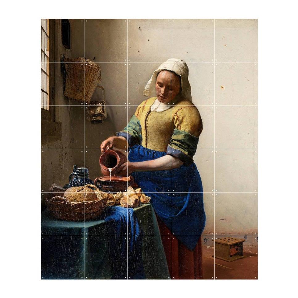 IXXI wanddecoratie The Milkmaid (100x120 cm) , Bruin, zand, geel, blauw