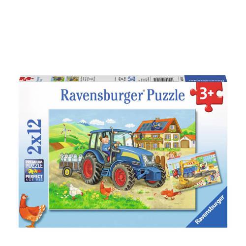 Ravensburger Op de bouwplaats en boerderij legpuzzel 24 stukjes kopen