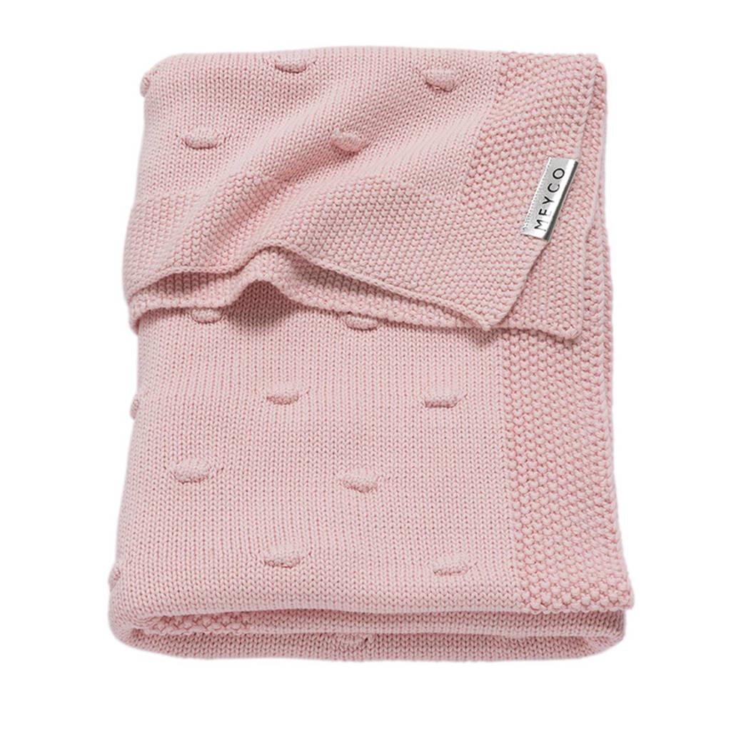 Meyco Silverline Knots wiegdeken 75x100 cm roze, Roze