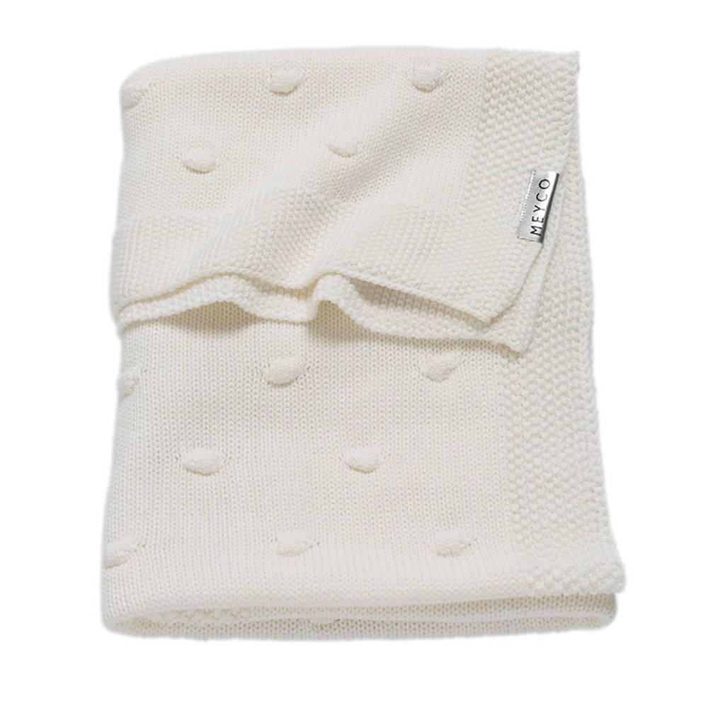 Meyco Silverline Knots ledikantdeken 100x150 cm gebroken wit, Gebroken wit