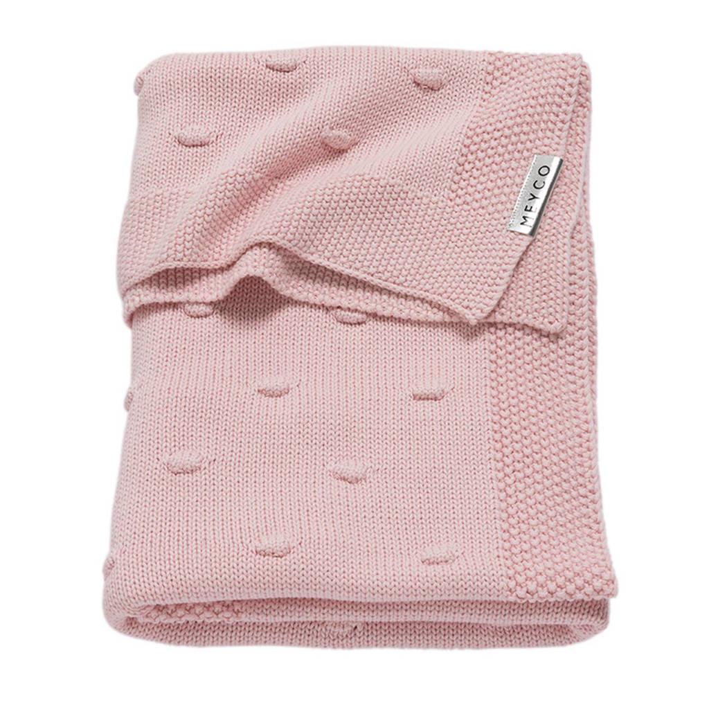 Meyco Silverline Knots ledikantdeken 100x150 cm roze, Roze