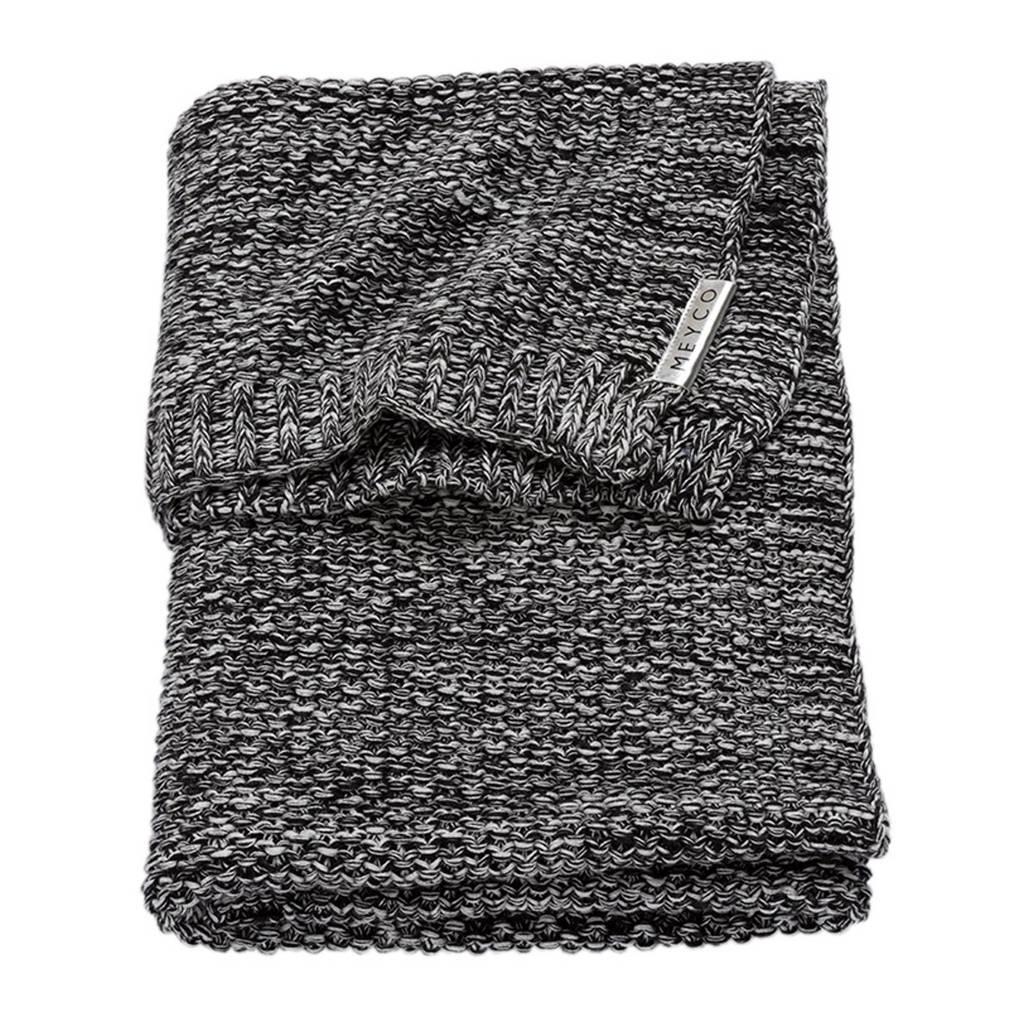 Meyco Silverline Relief Mixed ledikantdeken 100x150 cm zwart, Zwart