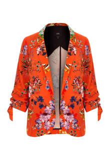 Plus blazer met bloemenprint