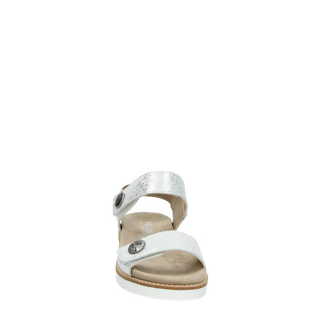Nelson metallic leren sandalen, Zilver