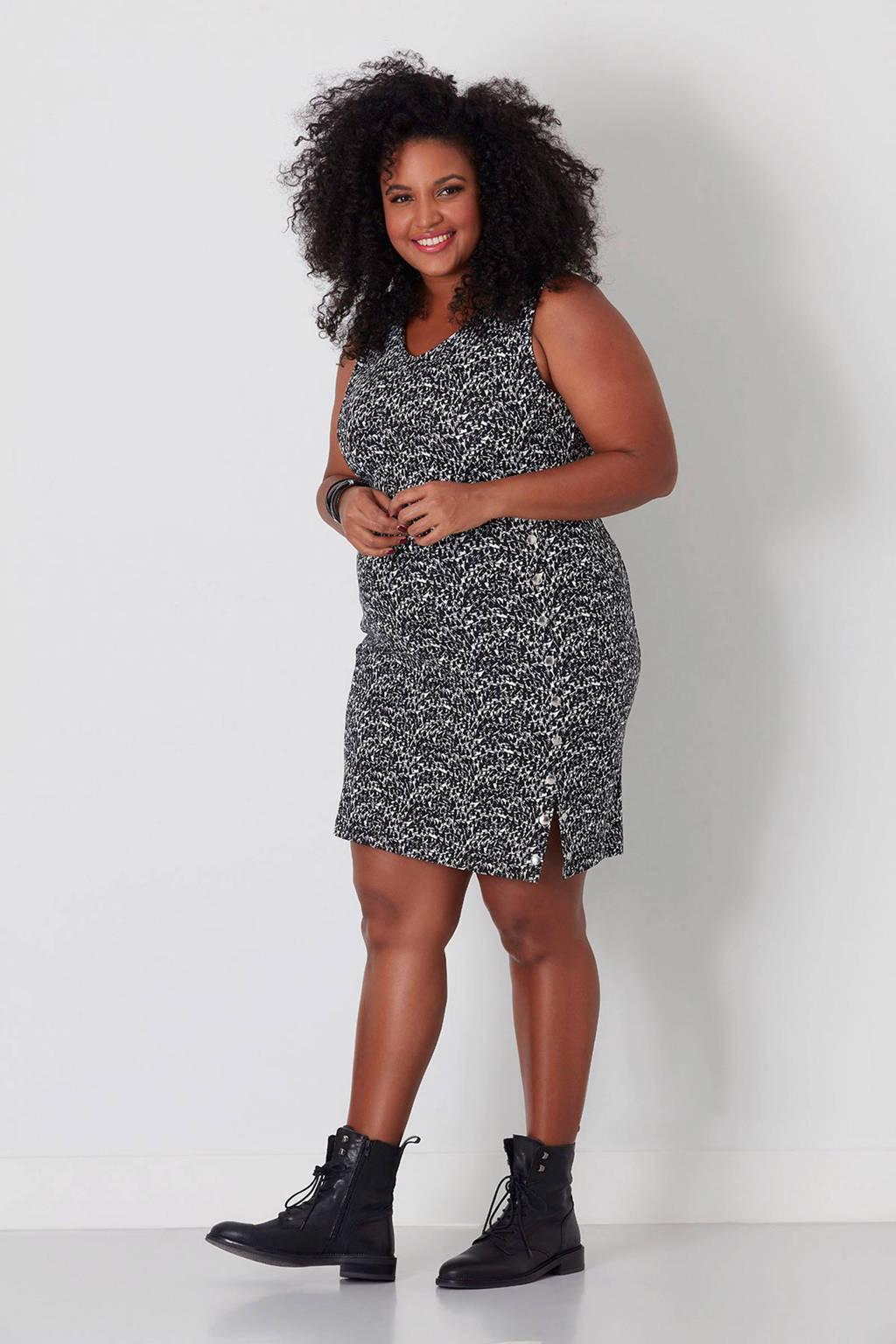 MS Mode jurk, Zwart/grijs