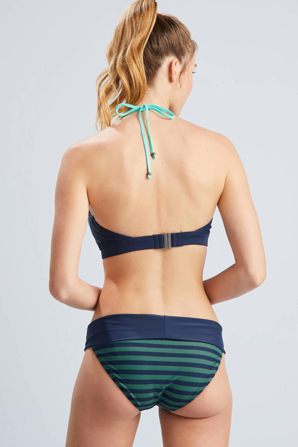 Beachlife halter bikinitop, Donkerblauw/groen