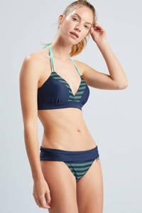 Beachlife gestreept omslag bikinibroekje donkerblauw/groen, Donkerblauw/groen