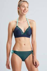 Beachlife gestreept strik bikinibroekje donkerblauw/groen, Donkerblauw/groen