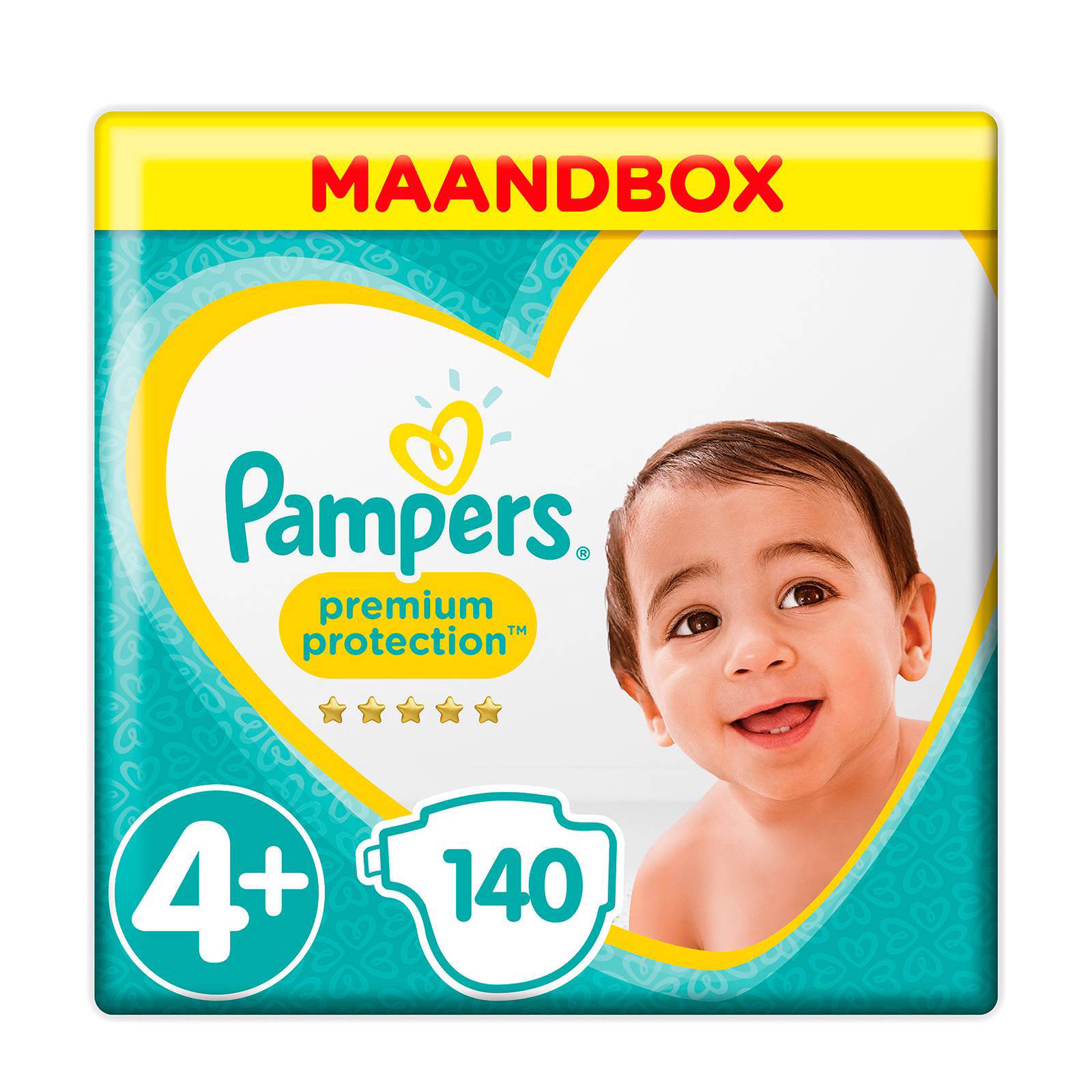 Pampers Premium Protection maandbox maat 4+ (10-15 kg) 140 luiers