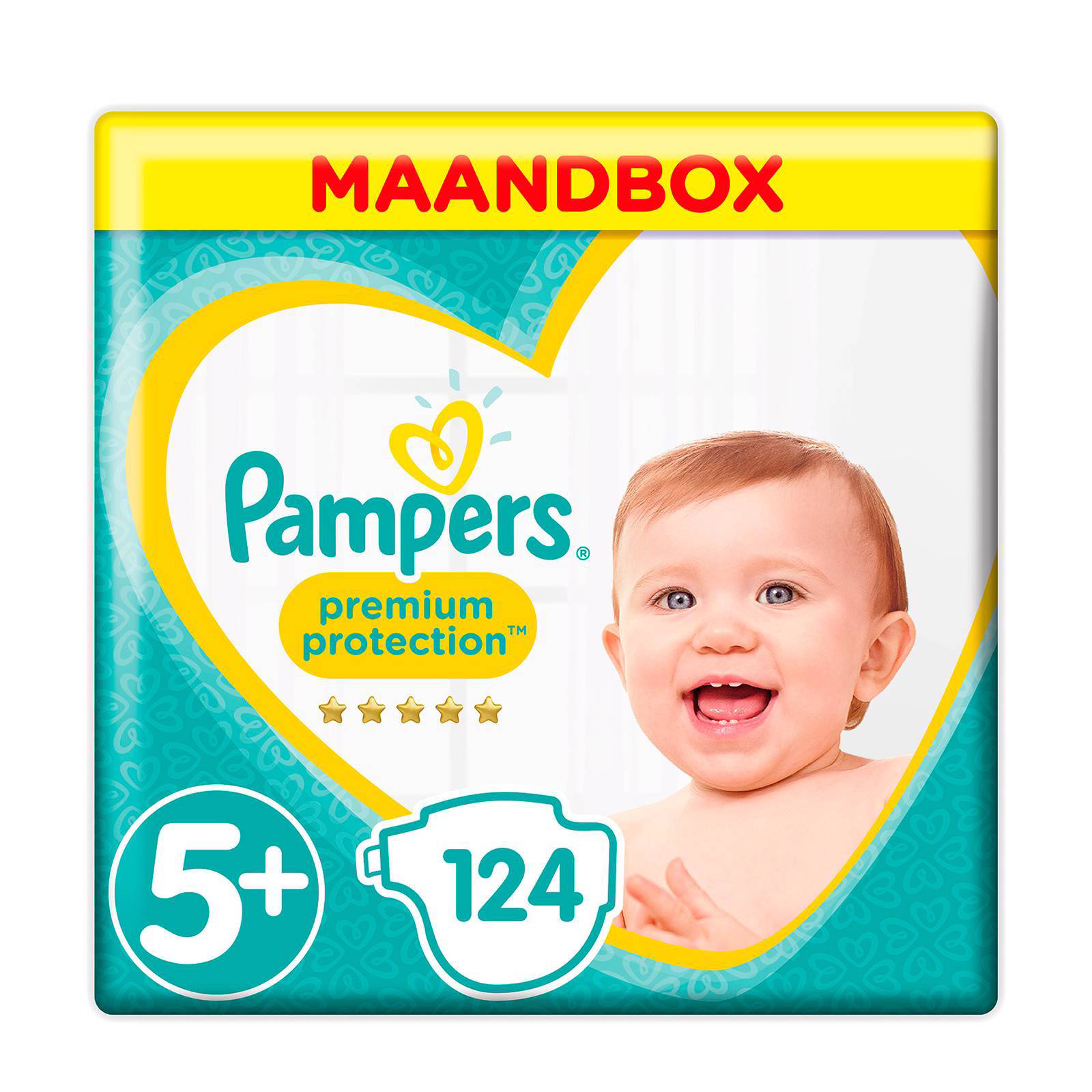 Pampers Premium Protection maandbox maat 5+ (12-17 kg) 124 luiers