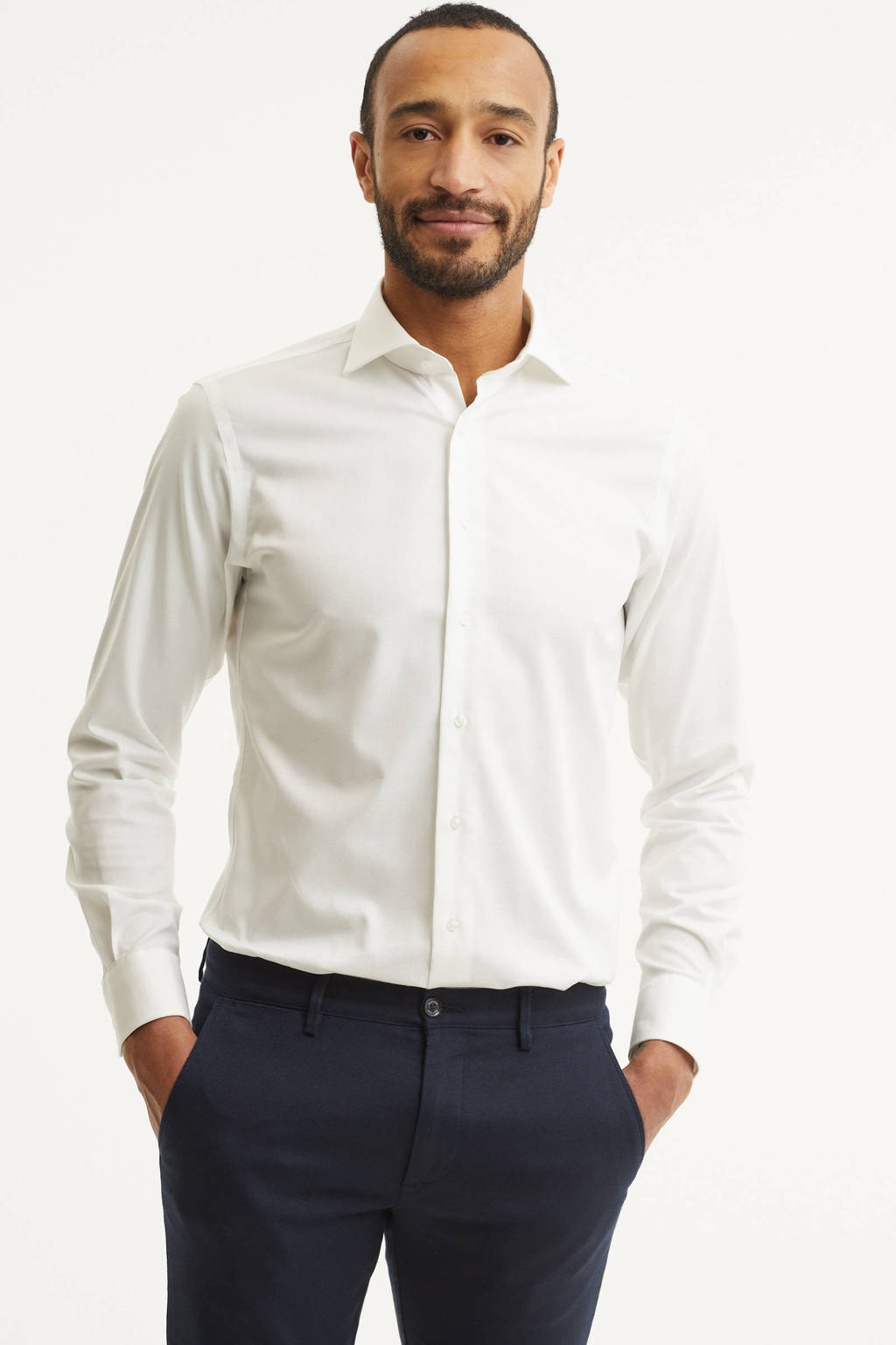 Michaelis slim fit overhemd, Wit