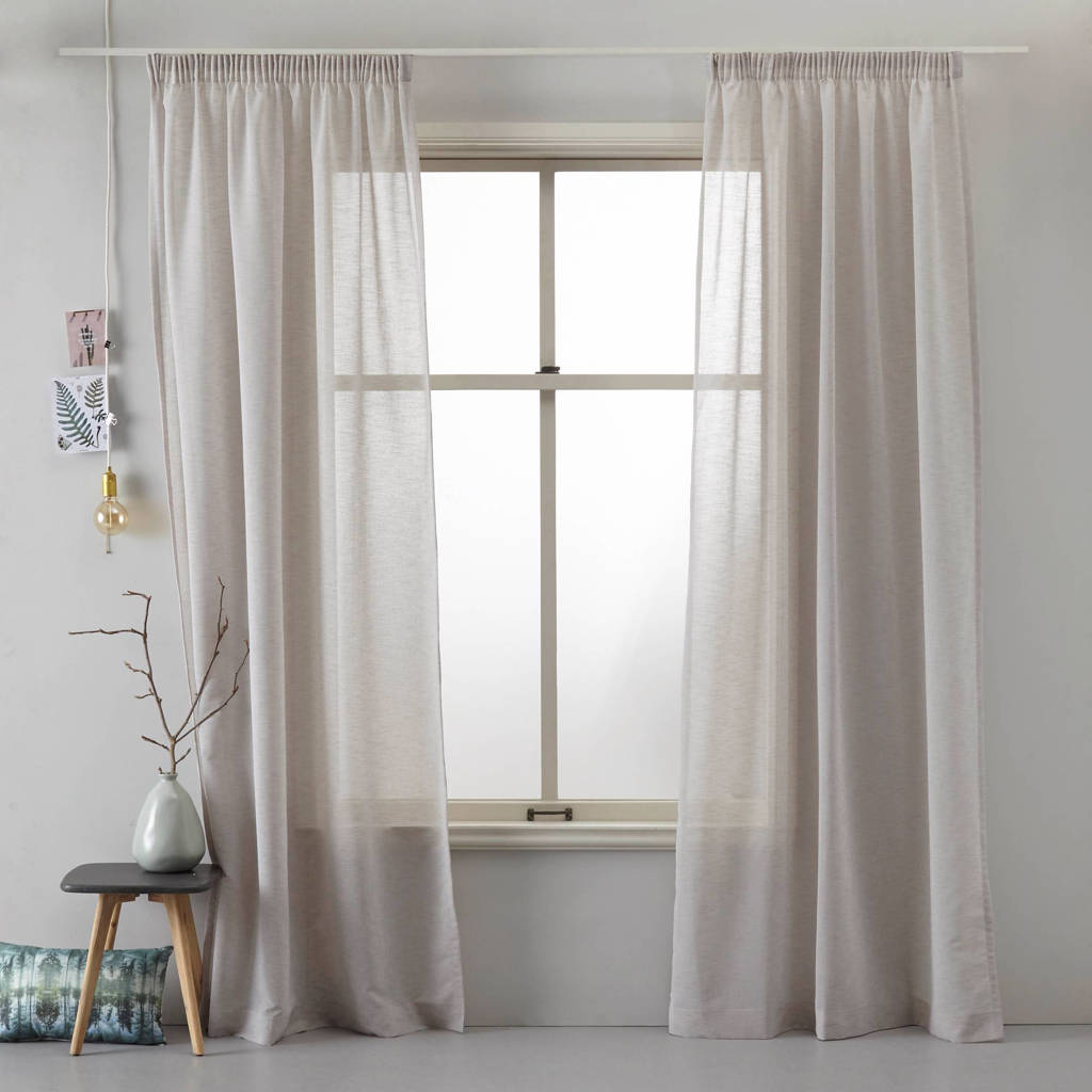Wehkamp Home inbetween kant en klaar transparant gordijn (per stuk) (140 x 180 cm), Zandgrijs