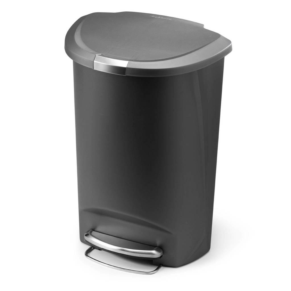 SimpleHuman Semi Round SH011158 pedaalemmer 50 liter, Grijs