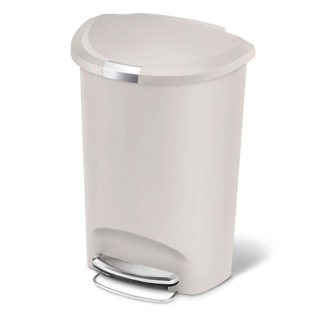 SimpleHuman Semi Round SH017341 pedaalemmer 50 liter, Beige