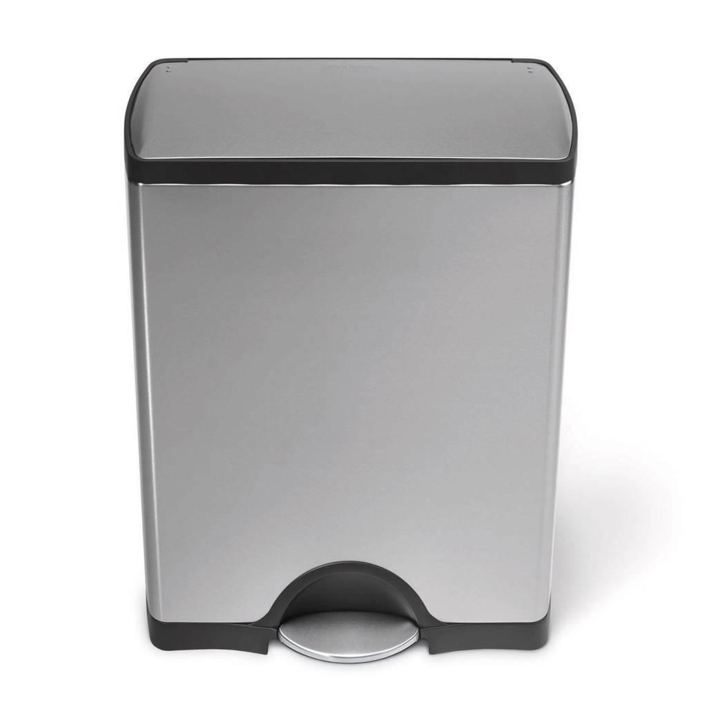 SimpleHuman Rectangular Classic pedaalemmer 30 liter, Zilver