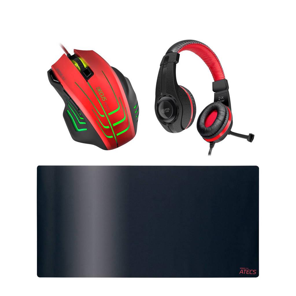 Speedlink gaming muis met gratis muismat en headset, Zwart/rood