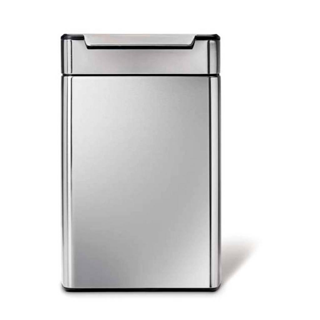 SimpleHuman Rectangular Touch Bar 2x24 liter pedaalemmer, Zilver