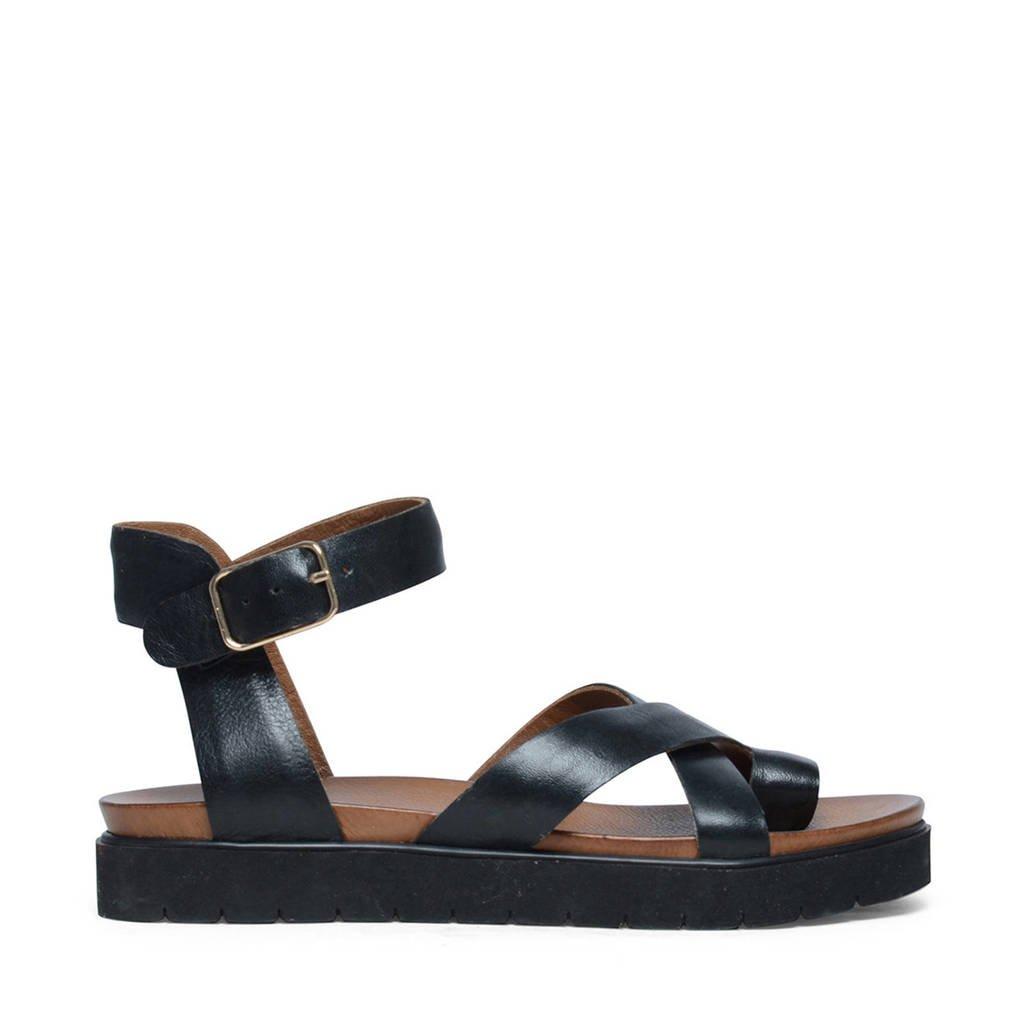 Manfield leren sandalen, Zwart