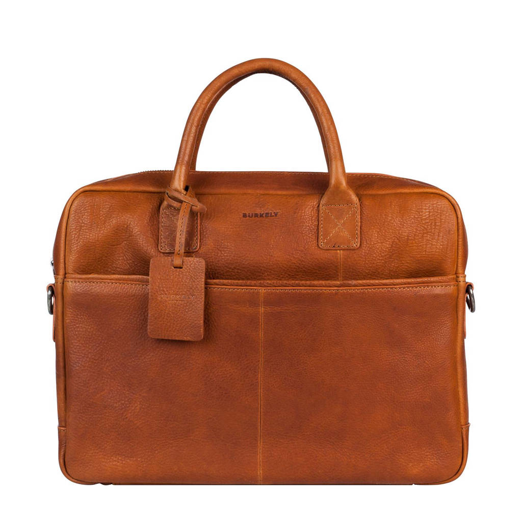 BURKELY 15,6 inch Antique Avery leren laptoptas, Cognac
