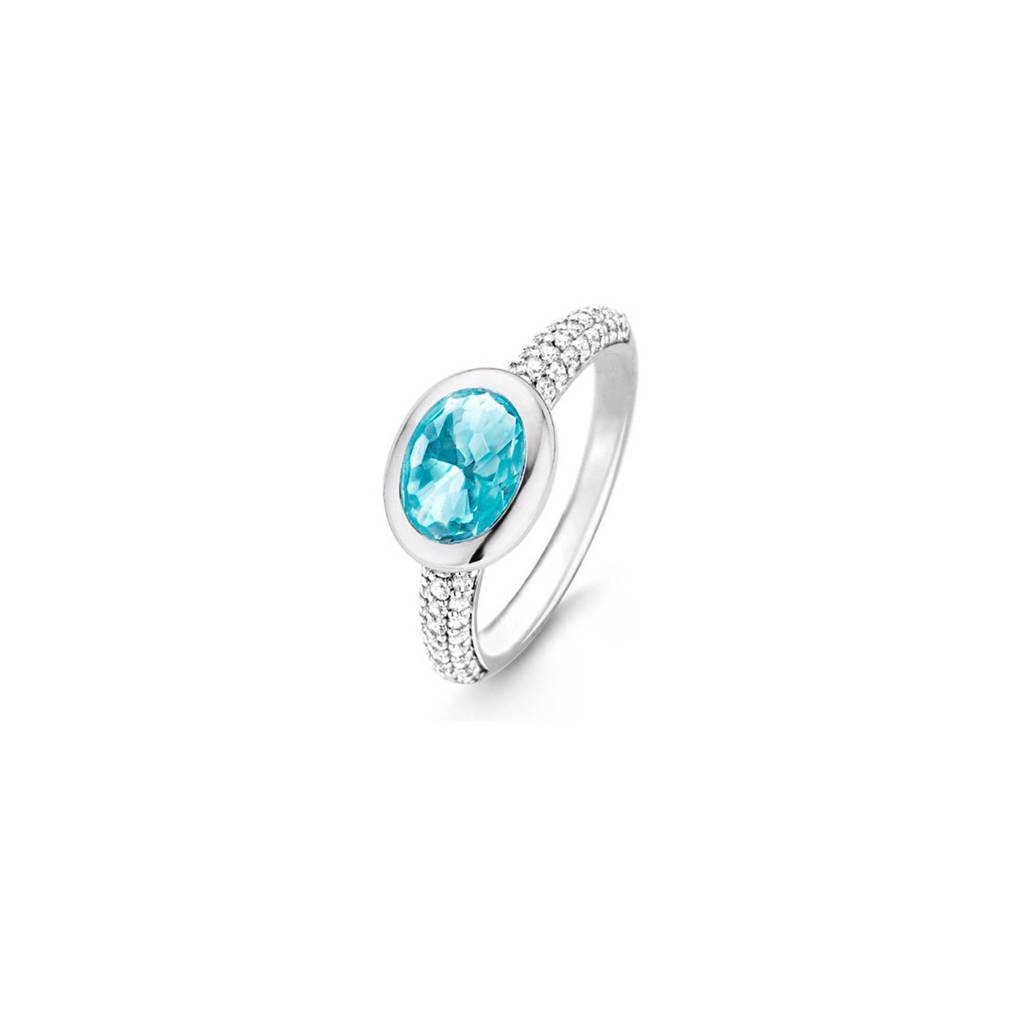 Ti Sento zilveren ring, Zilver/blauw
