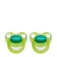 Bibi Happiness Dental fopspeen Lovely Dots 0-6 mnd groen (2 stuks), Vanaf de geboorte, Groen
