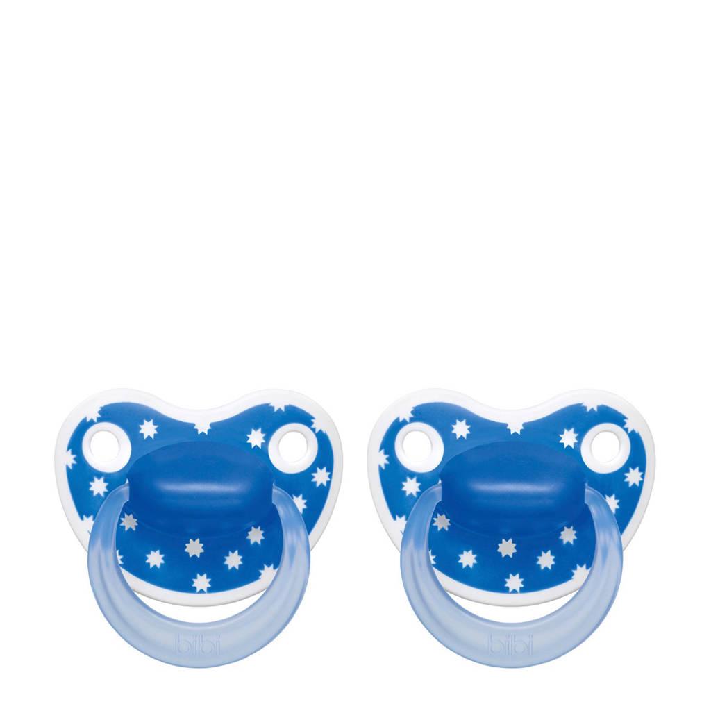 Bibi Happiness Dental fopspeen Lovely Dots 6-16 mnd blauw (2 stuks), Vanaf 6 maanden, Blauw