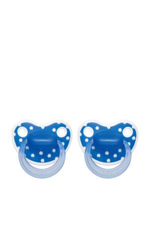 Happiness Dental fopspeen Lovely Dots 6-16 mnd blauw (2 stuks)
