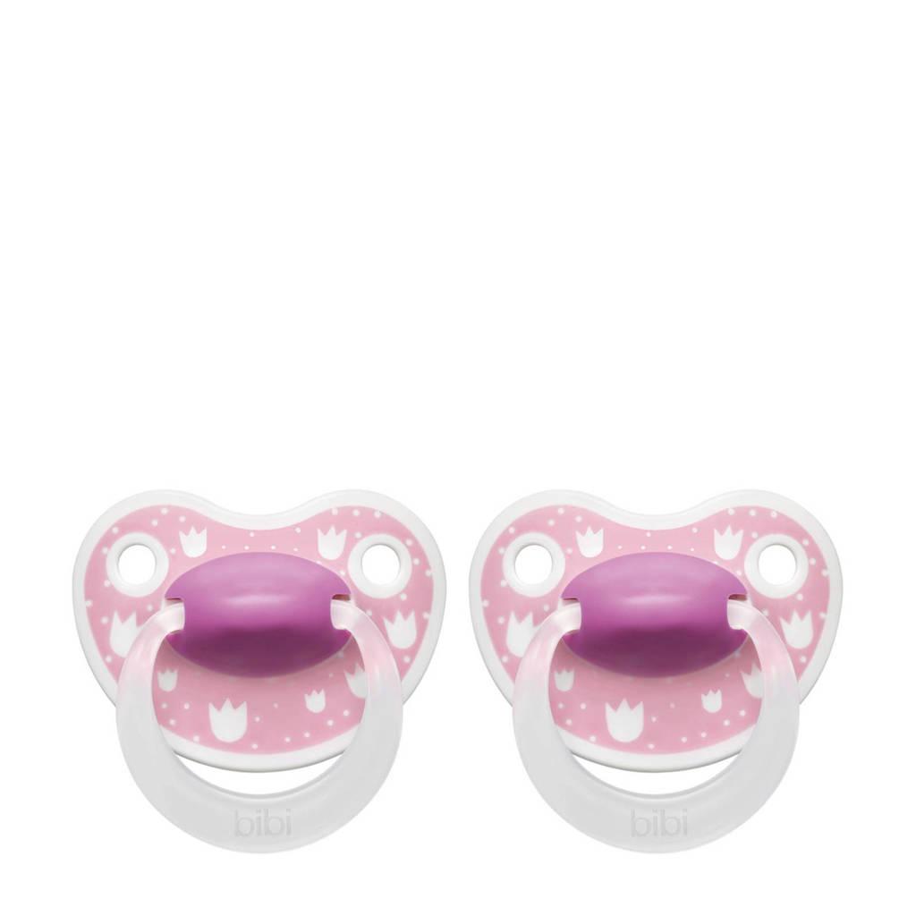 Bibi Happiness Dental fopspeen Lovely Dots 6-16 mnd roze (2 stuks), Vanaf 6 maanden, Roze