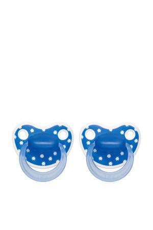 Happiness Dental fopspeen Lovely Dots 16+ mnd blauw (2 stuks)