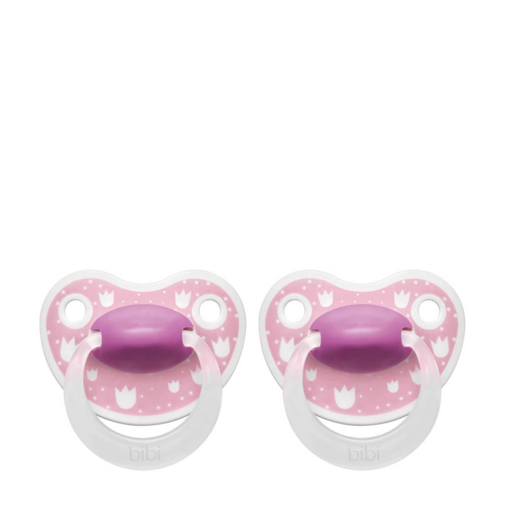 Bibi Happiness Dental fopspeen Lovely Dots 16+ mnd roze (2 stuks), Vanaf 16 maanden, Roze
