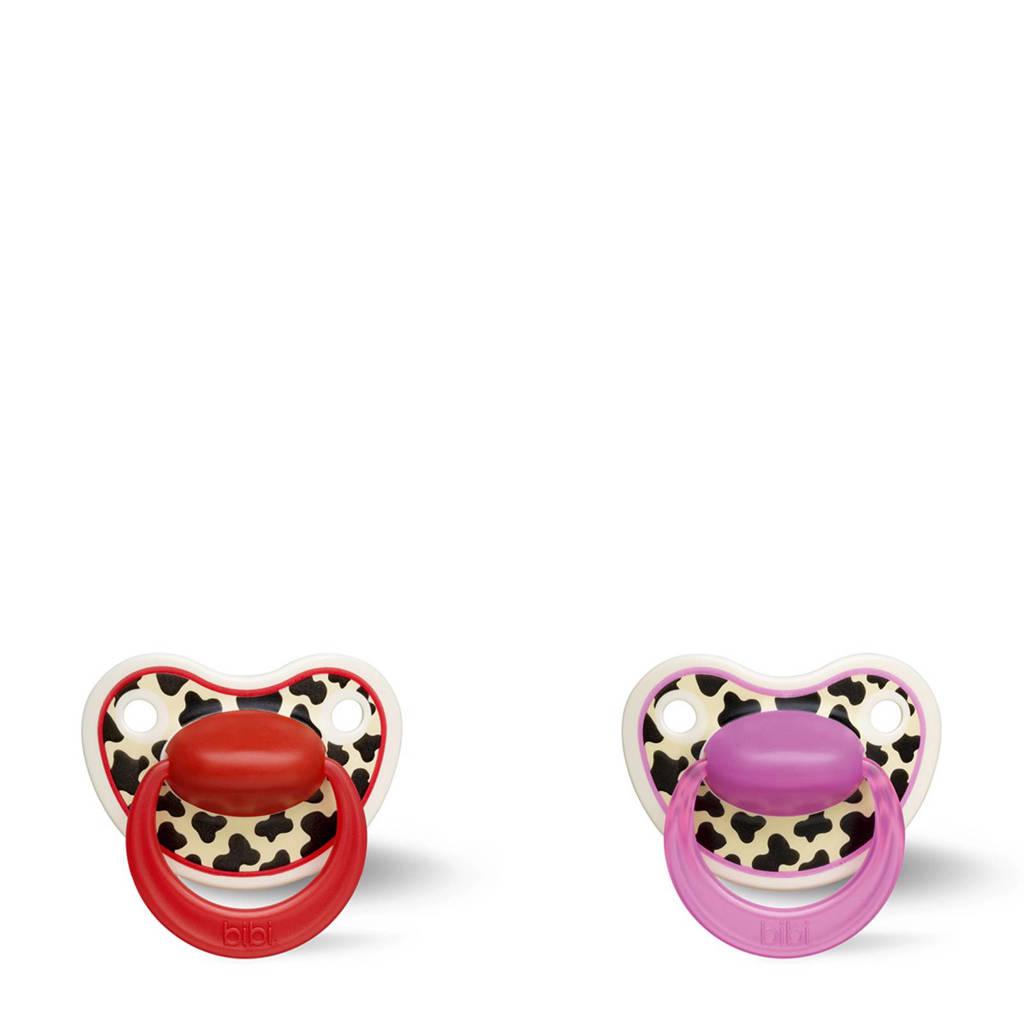 Bibi Happiness Dental fopspeen Tiger Swiss 6-18 mnd rood/roze (2 stuks), 6-18 maand, Rood/roze
