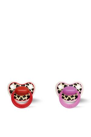 Happiness Dental fopspeen Tiger Swiss 6-18 mnd rood/roze (2 stuks)