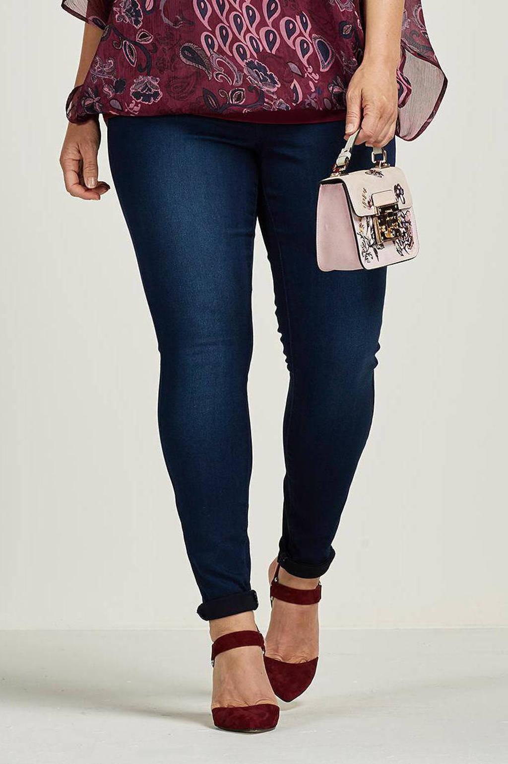 Zizzi Amy high waist super slim jeans met stretch, Dark denim stonewashed