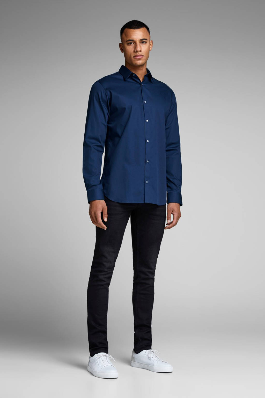 JACK & JONES PREMIUM slim fit overhemd, Donkerblauw