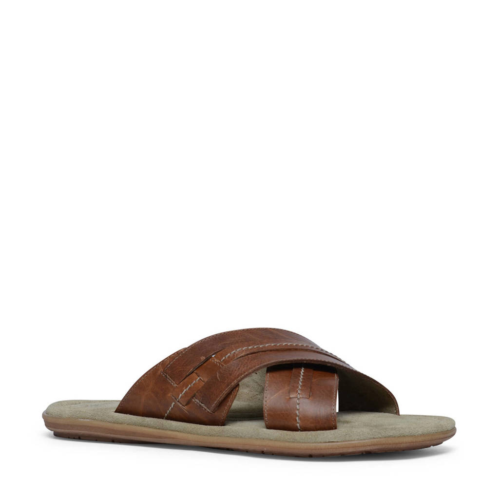 Manfield   leren slippers, Cognac