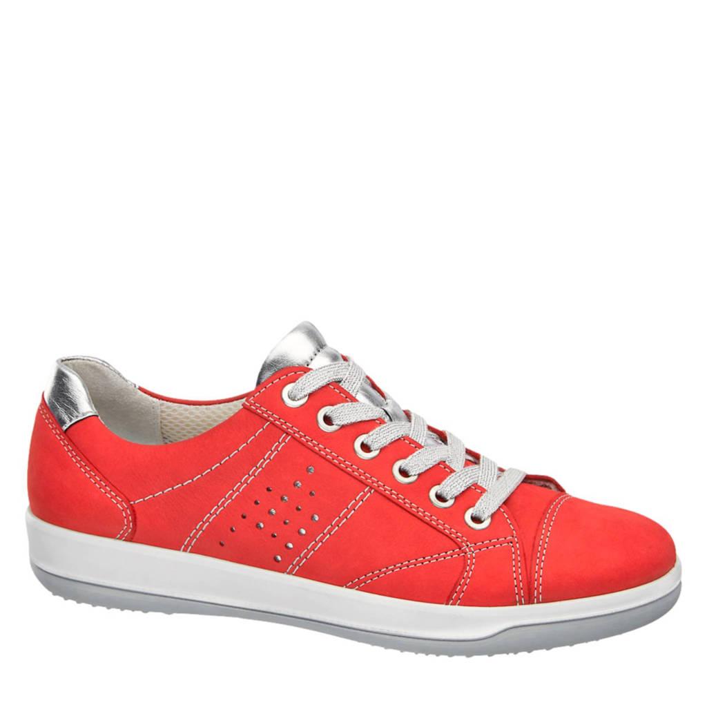 vanHaren Medicus  leren sneakers, Rood